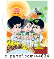 Royalty Free RF Clipart Illustration Of Three Sinhalese Children Celebrating New Years