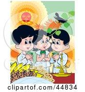 Three Sinhalese Children Celebrating New Years