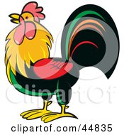 Royalty Free RF Clipart Illustration Of A Colorful Alpha Rooster In Profile by Lal Perera