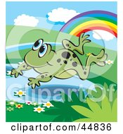 Royalty Free RF Clipart Illustration Of A Spotted Green Froggy Character Leaping Over A Pond Near A Rainbow