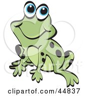 Royalty Free RF Clipart Illustration Of A Smiling Spotted Green Froggy Character by Lal Perera
