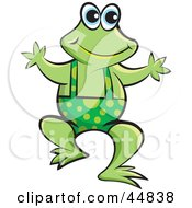 Royalty Free RF Clipart Illustration Of A Green Froggy Character Wearing Spotted Shortalls
