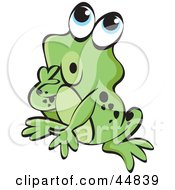 Royalty Free RF Clipart Illustration Of A Curious Spotted Green Froggy Character by Lal Perera