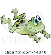 Royalty Free RF Clipart Illustration Of A Leaping Spotted Green Froggy Character by Lal Perera