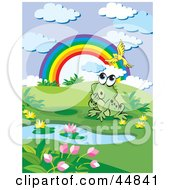 Royalty Free RF Clipart Illustration Of A Curious Spotted Green Froggy Character Near A Rainbow And Pond Watching A Bird by Lal Perera