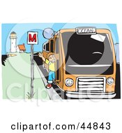 Royalty Free RF Clipart Illustration Of A Happy Boy Waving While Getting Off Of A Bus Near A Lighthouse
