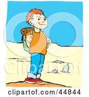 Royalty Free RF Clipart Illustration Of A Boy Grinning And Standing On A Beach While Hiking