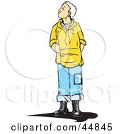 Royalty Free RF Clipart Illustration Of A Curious White Haired Boy In A Hoody Looking Up And To The Left by xunantunich