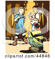 Royalty Free RF Clipart Illustration Of A Girl And Two Boys Hiking In The Wilderness