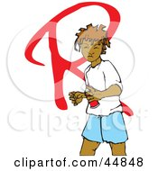 Royalty Free RF Clipart Illustration Of A Black Girl Spray Painting A Red R On A Wall