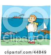 Royalty Free RF Clipart Illustration Of A Happy Boy Hiking With A Backpack Along The Coast