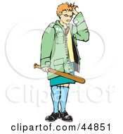 Royalty Free RF Clipart Illustration Of A Girl Standing And Holding A Baseball Bat While Touching Her Hair by xunantunich