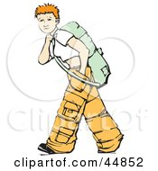 Short Haired Teenage Girl Wearing Baggy Pants And Backpacking