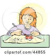 Royalty Free RF Clipart Illustration Of A Focused Girl Painting A Picture Of A House by xunantunich