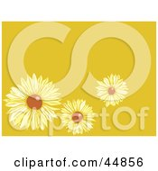 Royalty Free RF Clipart Illustration Of A Yellow Background With Three Brown Eyed Susans by xunantunich