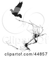 Royalty Free RF Clipart Illustration Of A Black Silhouetted Bird Near Weeds by xunantunich
