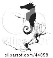 Royalty Free RF Clipart Illustration Of A Black Silhouetted Seahorse Near Weeds