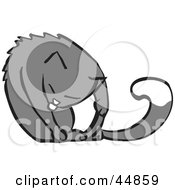 Royalty Free RF Clipart Illustration Of A White And Gray Cat Grooming Its Front Leg by xunantunich