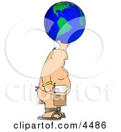 Warrior Holding Globe And Sword Clipart by djart
