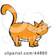 Royalty Free RF Clipart Illustration Of A Chubby Standing Orange Kitty With A White Belly