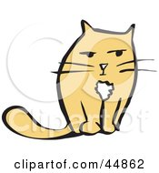 Royalty Free RF Clipart Illustration Of A Grouchy Yellow Cat Facing Front by xunantunich