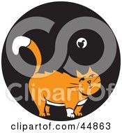 Royalty Free RF Clipart Illustration Of A White And Orange Cat Standing In The Black Of Night by xunantunich