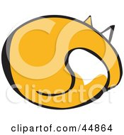 Royalty Free RF Clipart Illustration Of A Rear View Of A Yellow Cat Sleeping by xunantunich