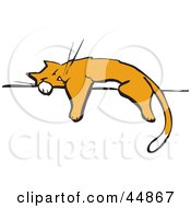 Royalty Free RF Clipart Illustration Of An Exhausted Cat Napping On A Wall Or Fence by xunantunich