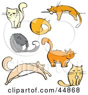 Royalty Free RF Clipart Illustration Of A Digital Collage Of Seven Cats