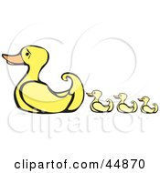 Royalty Free RF Clipart Illustration Of A Mother Duck Leading Her Yellow Ducklings by xunantunich