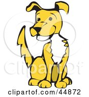 Happy Yellow Dog With A White Chest Sitting And Wagging His Tail