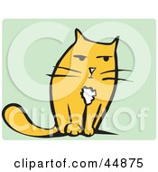 Royalty Free RF Clipart Illustration Of A Grumpy Yellow Cat Facing Front