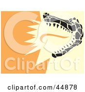 Royalty Free RF Clipart Illustration Of A Snapping Alligator On An Orange Background