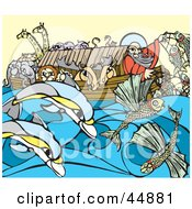 Royalty Free RF Clipart Illustration Of A Man And Pairs Of Animals Crowded On Noahs Ark