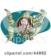 Royalty Free RF Clipart Illustration Of Jonah Waving And Sitting With Fish In A Whale Belly by xunantunich