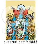 Royalty Free RF Clipart Illustration Of Animals And Noah Seated At A Table For A Feast by xunantunich