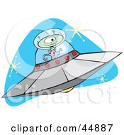 Royalty Free RF Clipart Illustration Of A One Eyed Green Alien Flying A Saucer In Space