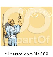 Royalty Free RF Clipart Illustration Of A Very Old Male Wizard Creating Swirls Of Smoke by xunantunich