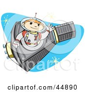 Royalty Free RF Clipart Illustration Of An Astronaut Boy Flying A Rocket In Outer Space