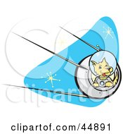 Royalty Free RF Clipart Illustration Of An Astronaut Dpg Flying A Rocket In Outer Space