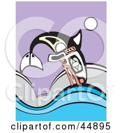 Royalty Free RF Clipart Illustration Of An Aboriginal Styled Whale Leaping Over Waves by xunantunich