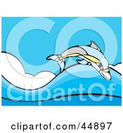 Royalty Free RF Clipart Illustration Of A Colorful Dolphin Leaping Over Blue Sea Waves