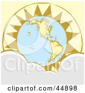 Royalty Free RF Clipart Illustration Of The Sun Rising Behind Planet Earth With Clouds In The Foreground by xunantunich