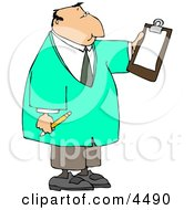 Male Doctor Reading Checklist On Clipboard And Holding A Pencil Clipart