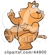 Royalty Free RF Clipart Illustration Of A Ginger Cat Character Doing A Happy Dance