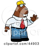 Royalty Free RF Clipart Illustration Of A Friendly Waving Builder Beaver Wearing A Hard Hat by Cory Thoman
