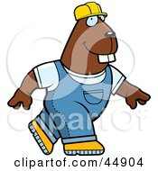 Royalty Free RF Clipart Illustration Of A Walking Builder Beaver In Overalls And A Hard Hat by Cory Thoman