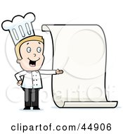 Royalty Free RF Clipart Illustration Of A Toon Guy Chef Character Presenting A Blank Menu by Cory Thoman