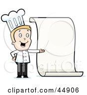 Toon Guy Chef Character Presenting A Blank Menu