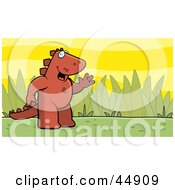 Royalty Free RF Clipart Illustration Of A Friendly Waving Red Stegosaur Standing Upright In A Grassy Meadow